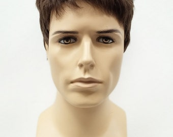 Brown Short Style Men's Wig. Synthetic Fashion Wig. [55-454-Simon-8]