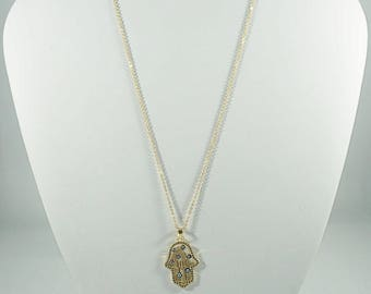 Stainless Steel Evil Eye GOLD Necklace. WHITE.