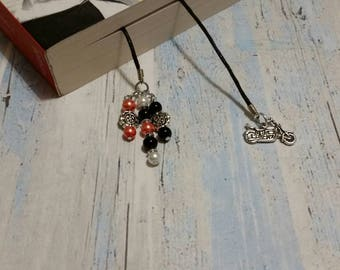 Book thong, bookmark on black waxed cotton cord with silver-toned motorcycle charm and handmade beaded dangles, Harley Davidson colors