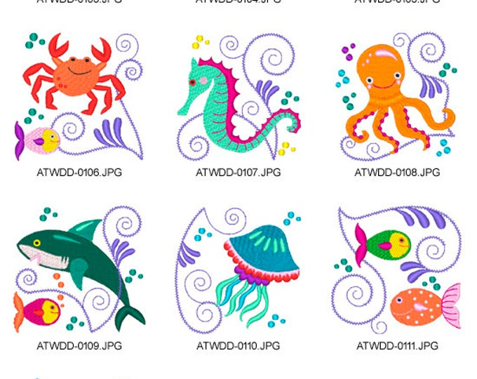 Jacobean-Sea-Friends. ( 10 Machine Embroidery Designs from ATW )