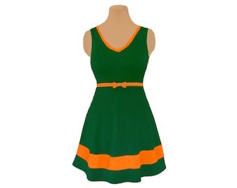 Green + Orange Skater Dress