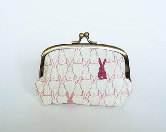 Coin purse, rabbit fabric, cream and pink cotton rabbit design, cotton purse
