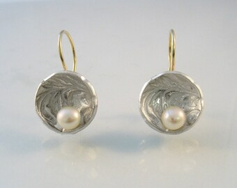 Pearl in a Flowered Shell - silver bowl with white pearl and gold wire earrings