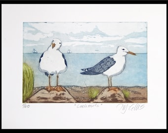 Lookouts, etching on paper, handprinted and signed, limited edition, seagulls by the seaside