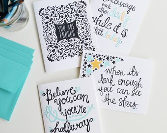 Set of Four Folded Note Cards, Encouragement, Inspirational Quotes, Hope,Stationery, Hand Drawn, Illustration