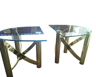 VINTAGE Brass End Tables, Hollywood Regency Design, Mid Century Modern End Tables, Glass and Brass Tables.