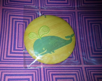 blue whale wood pendant necklace