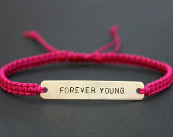 Forever Young Sterling Silver or Brass and Macramé Bracelet, Choice Of Colours Available