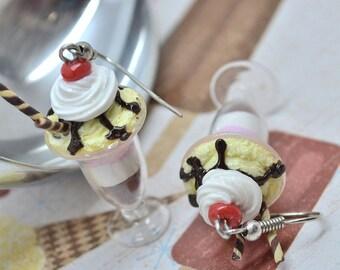 Sundae ice cream earrings,Ice cream earrings,Polymer clay earrings,Miniature food jewelry