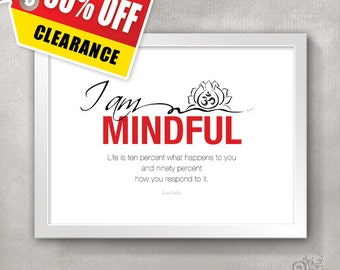 Yoga Studio Decor / Om Lotus MINDFUL Inspirational Quote Print / Recovery Gift / Mindfulness / Meditation // 5x7 / 8x10