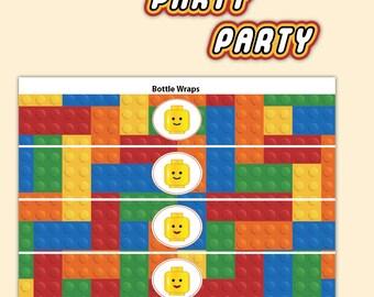 Water Bottle Wraps - Building Brick Party - Printable PDF, Instant Download