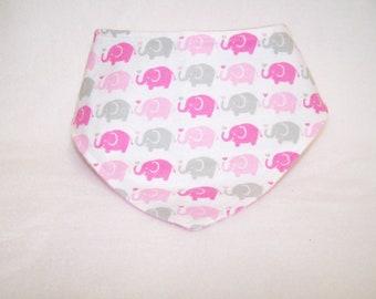 Pink & Gray Elephants on Parade Baby Girl Bandana Bib, Neckerchief, Drool Bib, Bibdana, Teething Bib, Reversible Bib