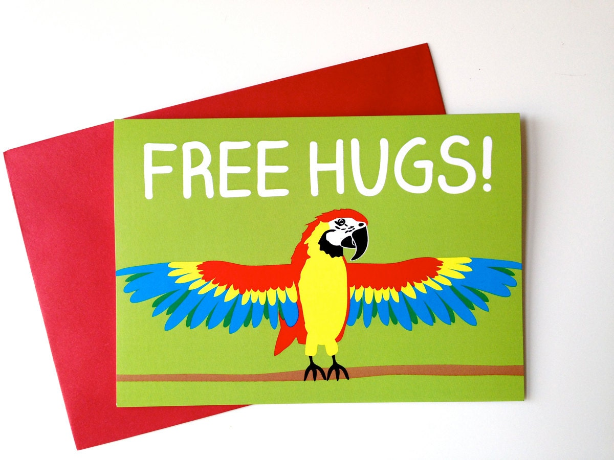 Free Friends Birthday Cards ~ Free hugs parrot card funny birthday card macaw card cute