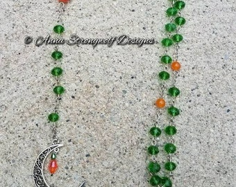 Carnelian prayer beads Harvest Moon manifestation green crystal pagan wicca witchy rosary.