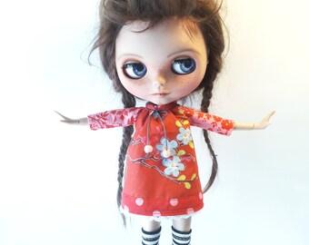 "Handmade Sweet Cotton Summer Mini Dress ""Pip"" for Blythe 1/6"