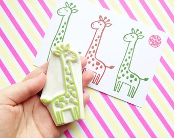 giraffe rubber stamp | safari animal stamp | diy baby shower birthday card making | holiday gift wrapping | hand carved by talktothesun