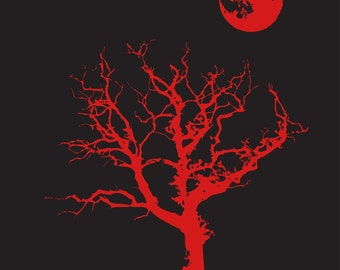 Halloween T Shirt Spooky Tree Moon Goth XL Only