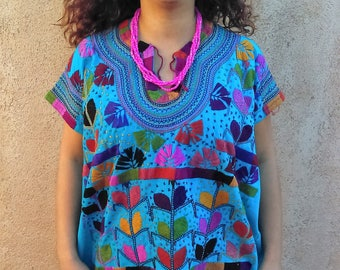 Authentic Mexican Blouse-Colorful Leafes