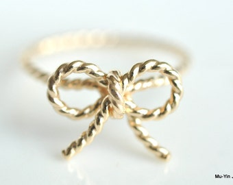 TINY BOW rope ring - 14k Yellow gold filled twisted wire wrap