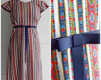 original vintage 1960's SHIFT DRESS tea COTTON empire waist capped sleeves red blue green uk 16 us 12
