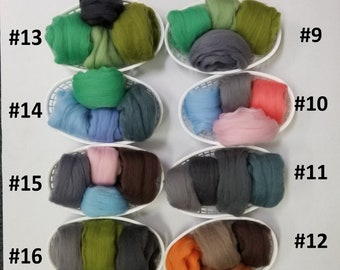 free shipping!!!  2 ounce mixed color grab bag  ◾  21.5 micron ◾ Merino Roving wool ◾ 66s ◾