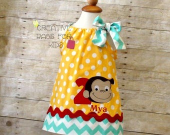 Curious George dress/ Curious George Outfit/ Birthday Dress with Curious George/ Curious George Clothing (matching bag available)
