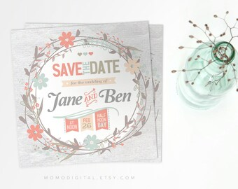 Save The Date, Coral Teal, Spring Invitation, Floral Wreath, Digital Invitation Card, Downloadable File, Pink Blue Beige, Grey, Love Card