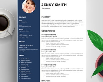 Google Docs Resume Template Mac, Resume Template with Photo, Creative Resume Template, CV Template, Cover Letter, Instant Download