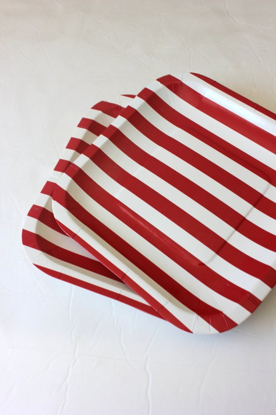 Set 8 RED u0026 WHITE STRIPED Paper Plates Candy Land Carnival Stripes Retro Circus Birthday Party Parade 1st Cake Dessert Tableware Square 7  from ... & Set 8 RED u0026 WHITE STRIPED Paper Plates Candy Land Carnival Stripes ...