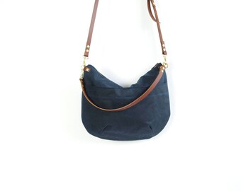 Zip Top  Waxed Canvas Cross Body Bag - NEVIS -  Navy Blue - Adjustable Leather Shoulder Bag Leather Shopper Bag by Holm goods