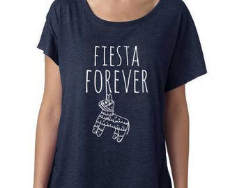 Fiesta Forever, Women's Graphic Dolman Tee, Screen Printed, Funny T Shirt, Navy