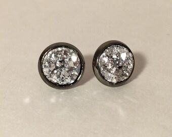 10mm silver druzy earrings in gunmetal setting