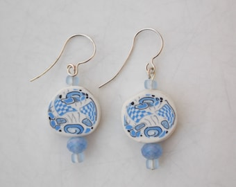 Light Blue & White Handmade Polymer Clay Drop Earrings - Artisan, Millefiori