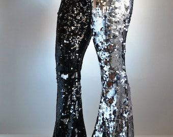 Silver/Black Sequin Wide Flare Pants