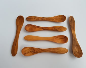Set of 6 Wooden Small Spoons - Olive Wood Egg Spoons / Baby Spoon - SkandWood - 100% Bio Products