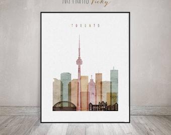 Toronto print, watercolor poster, Travel, Wall art, Toronto Canada skyline, Toronto watercolor print, Home decor, Gift, ArtPrintsVicky