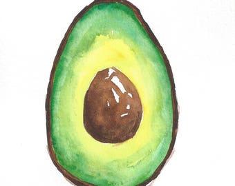 Hand painted watercolor Avocado - ORIGINAL ARTWORK