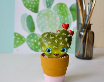 SALE! Cactus Heart - Art Doll, Gift, Cactus Decor, Whimsical Art Sculpture, Clay Doll, Fantasy Creatures, Cactus, Collectible doll