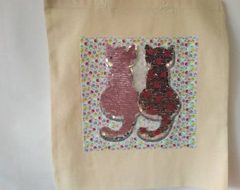 Sequin Cat Tote Bag