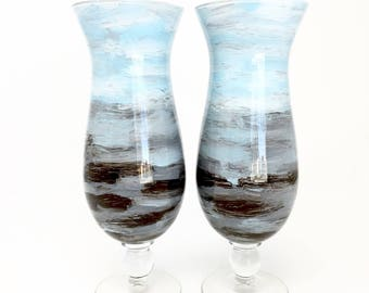Espresso Brown and Blue Vases // Set of 2 // Hand Painted Glass