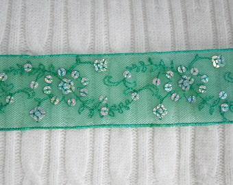 "1 3/4"" Green Trim with Silver Iridescent Sequins By the Yard, Decorative Trim For Costumes, Sewing Supplies, Embellishment"