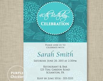 Teal Invite Floral Invite Linen Birthday Invitation Celebration Invite Dahlia Invite Feminine flower Invitation 5x7 Printable JPG File 279