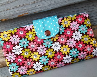 Floral Checkbook Holder, Personalized Pink & Brown Coupon Wallet, Fabric Checkbook Cover