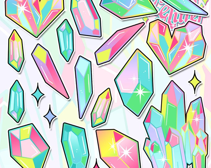 Rainbow Crystals Pack White Vinyl Sticker Bomb Pack