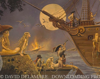 "The Lure of Spanish Gold (Unframed 36""x18"" Giclée Print) Mermaid & Pirate Art  by David Delamare"