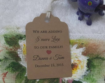 Personalized Favor S'more Love Tags 2 1/2'', Wedding tags, Thank You tags, Favor tags, Gift tags, baby shower s'more love
