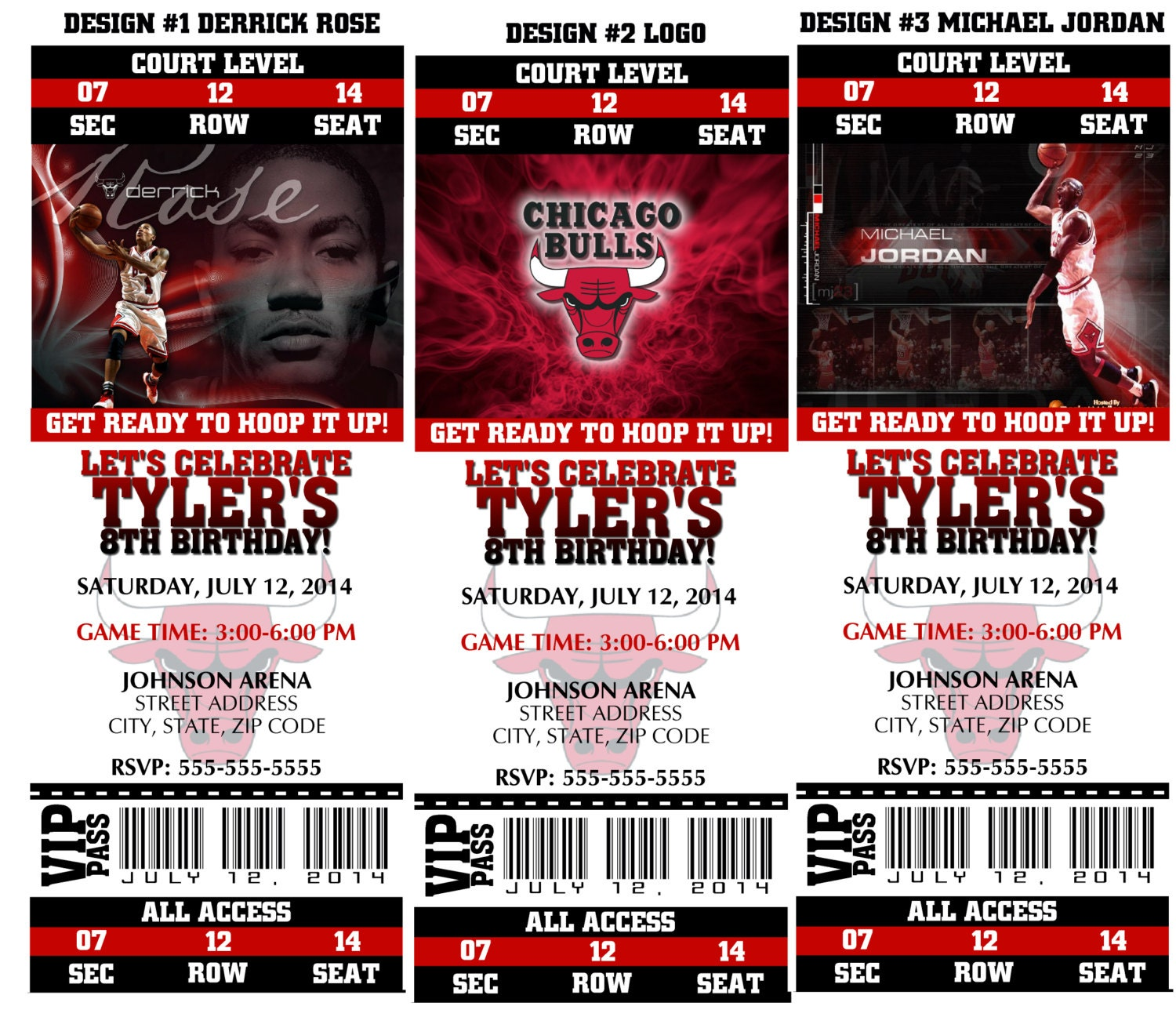 Printable Birthday Party Invitation Chicago Bulls Birthday