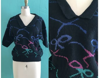 vintage 80's black bow sweater // bow knit top