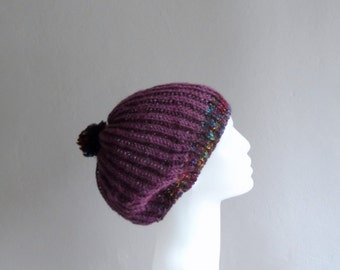 Purple Slouchy Hat, Pompom Hat, Slouchy Beanie, Knit Slouchy Hat