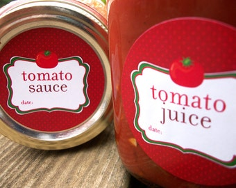 Tomato Juice, Sauce, Salsa, Spaghetti Sauce canning labels, round red mason jar labels for tomatoes, food preservation stickers